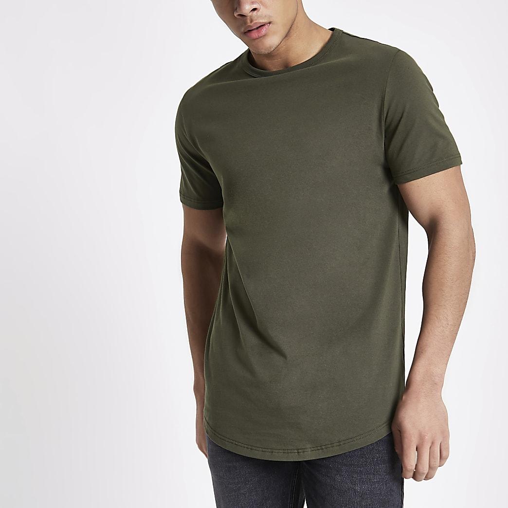 Kakigroen lang T-shirt met ronde zoom