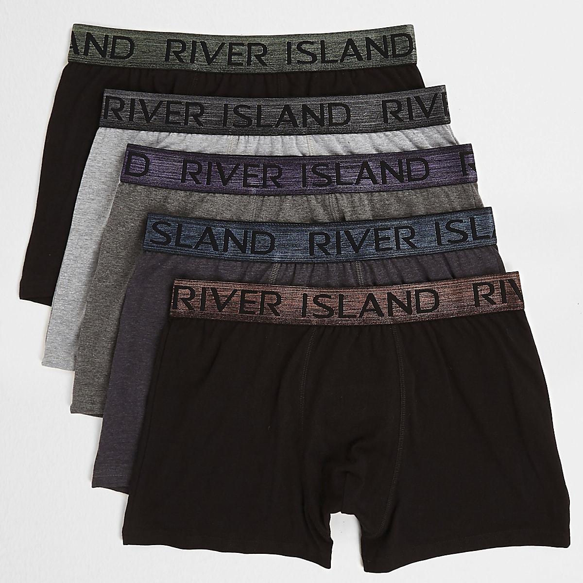 Big and Tall - Set van 5 zwarte metallic strakke boxers