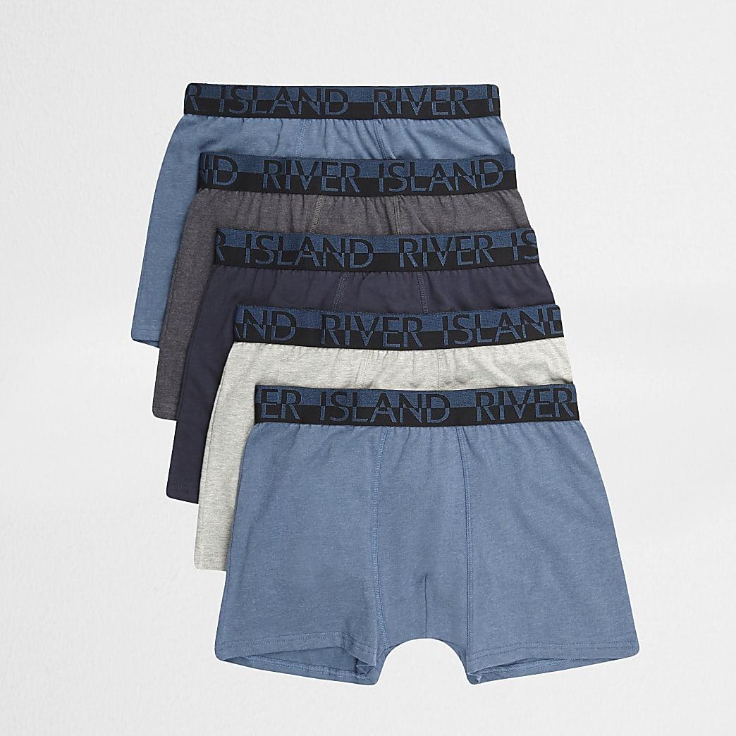 Big & Tall – Lot de 5 boxers longs bleus