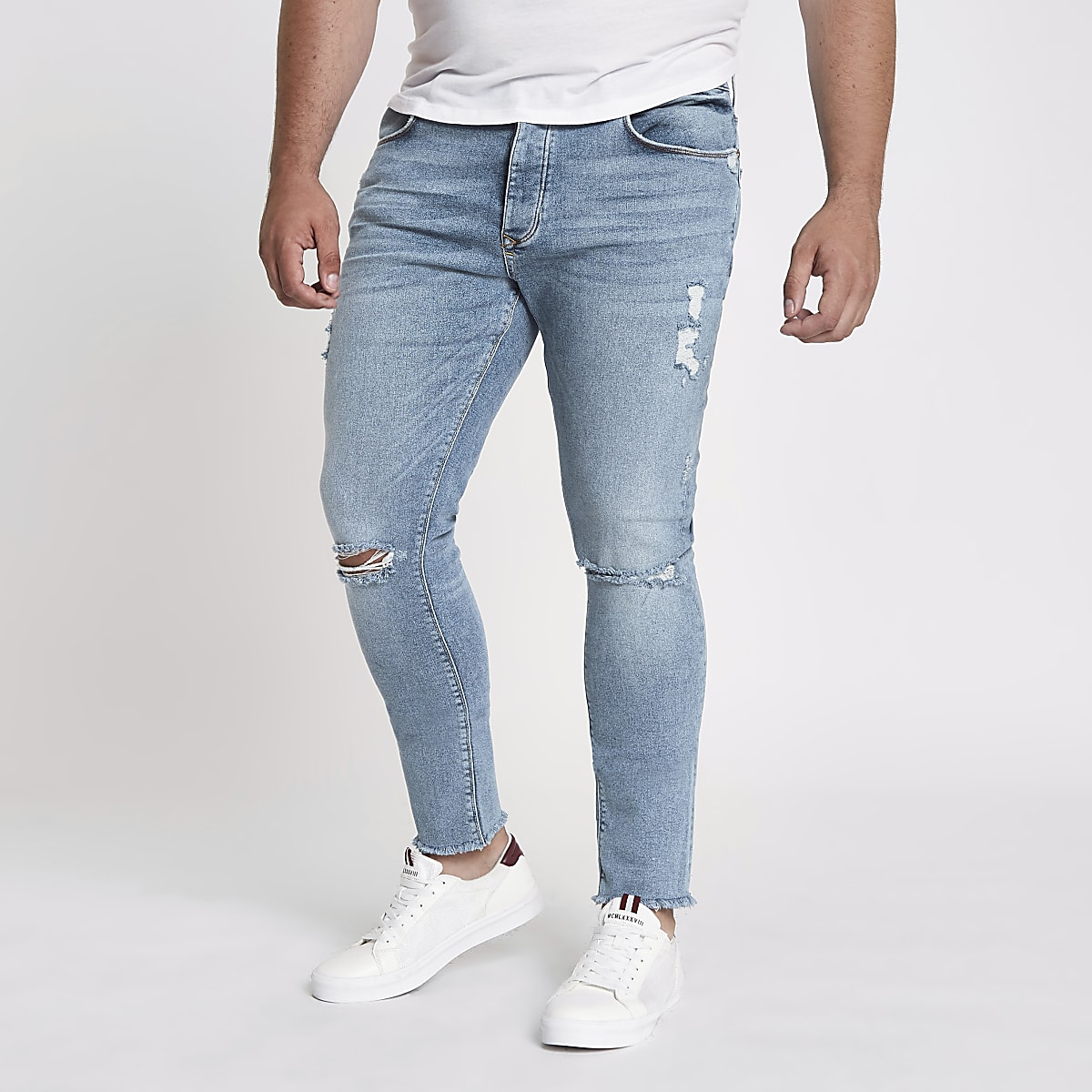 Big and Tall - Danny - Blauwe skinny ripped jeans