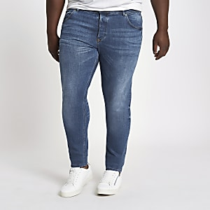 Big and Tall - Sid - Middenblauwe vervaagde skinny jeans