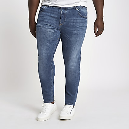 Big and Tall mid blue faded Sid skinny jeans