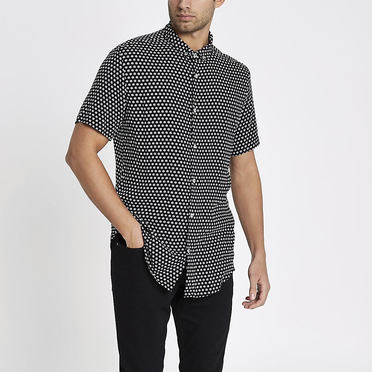 Black ditsy print slim fit short sleeve shirt