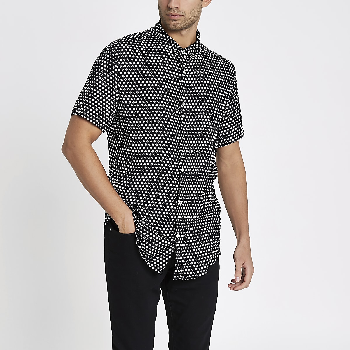 Schwarzes Slim Fit Kurzarmhemd mit Blumenmuster