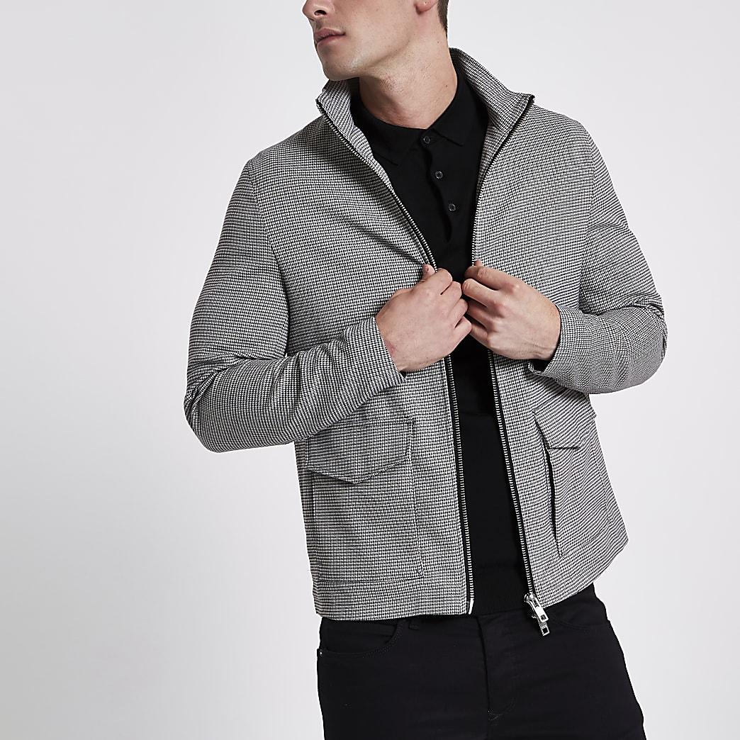 Grey puppytooth check harrington jacket