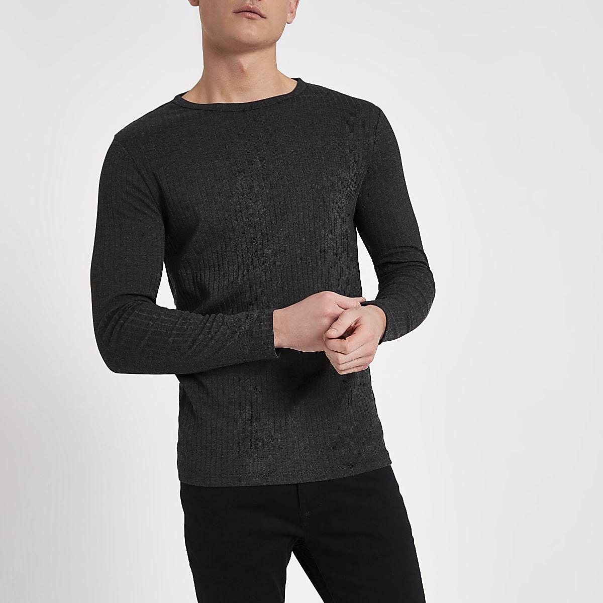 Dark grey rib slim fit long sleeve T-shirt