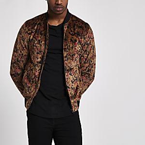 Black and gold floral velvet bomber jacket