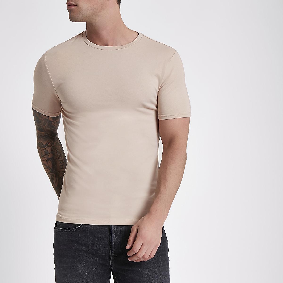 2430e732d Light brown muscle fit crew neck T-shirt - T-shirts - T-Shirts & Vests - men