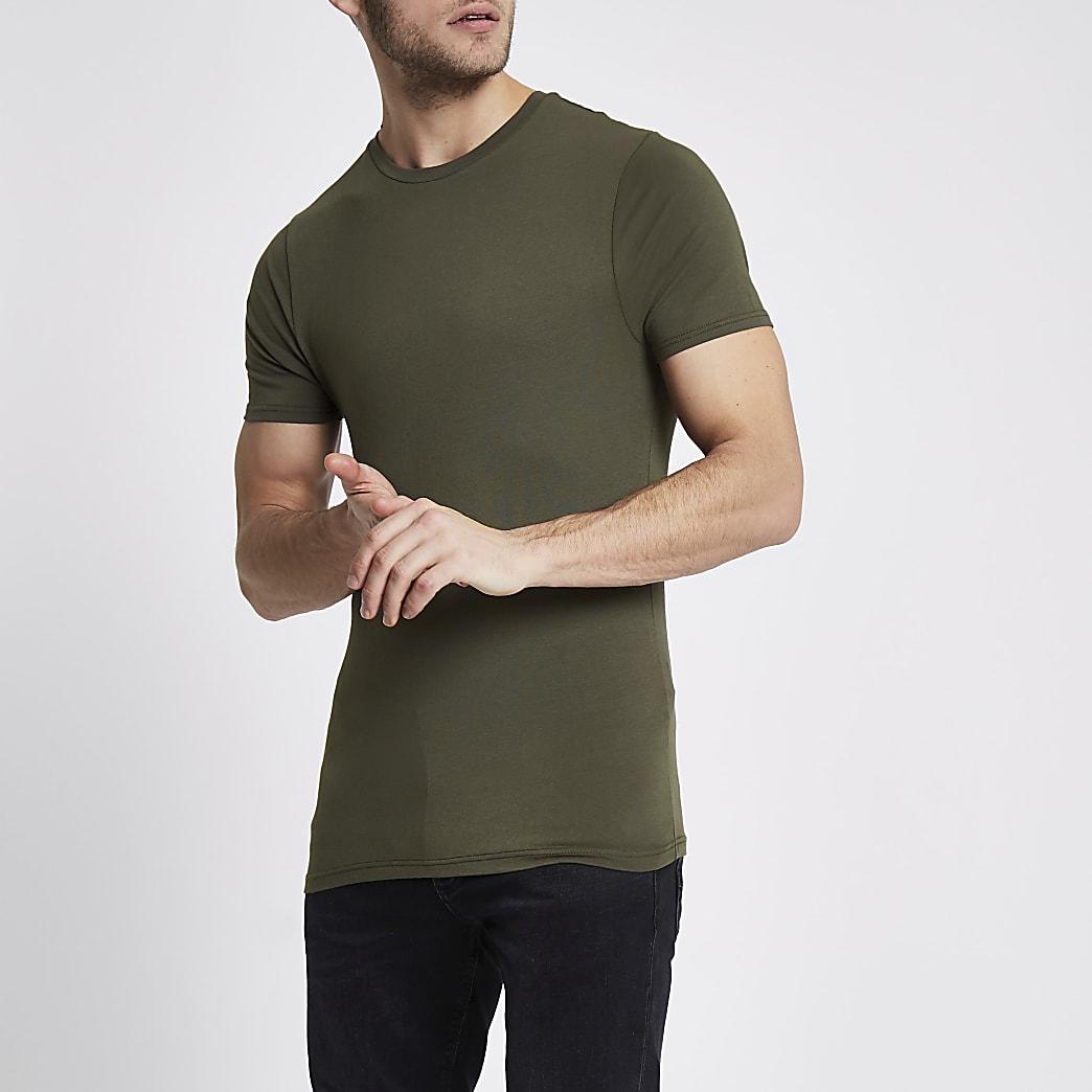 Khaki muscle fit crew neck T-shirt