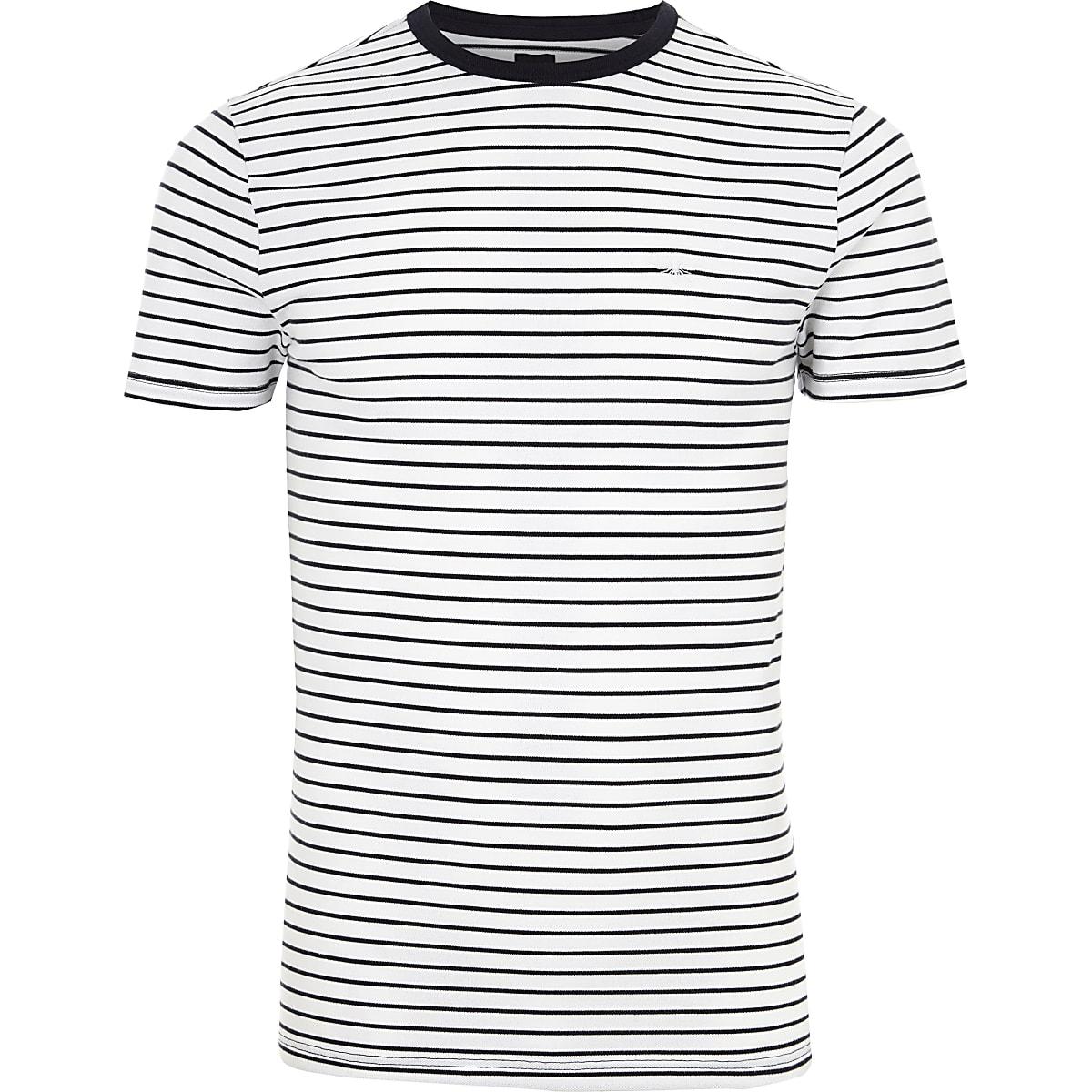 cfbba59b7 White stripe muscle fit crew neck T-shirt - T-shirts - T-Shirts ...