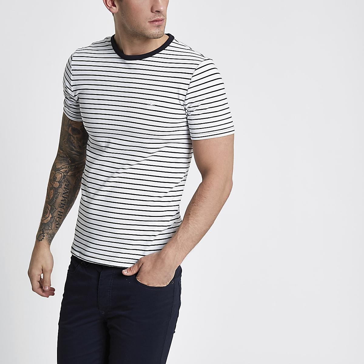 2023bcf2771c90 White stripe muscle fit crew neck T-shirt - T-shirts - T-Shirts   Vests -  men