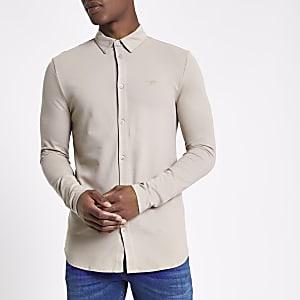 Steingraues, langärmeliges Muscle Fit Piqué-Hemd