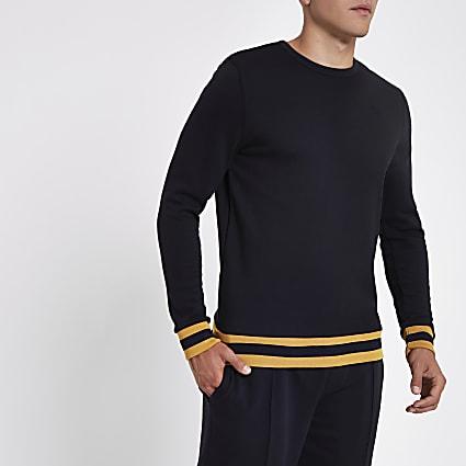 Navy crew neck slim fit sweater