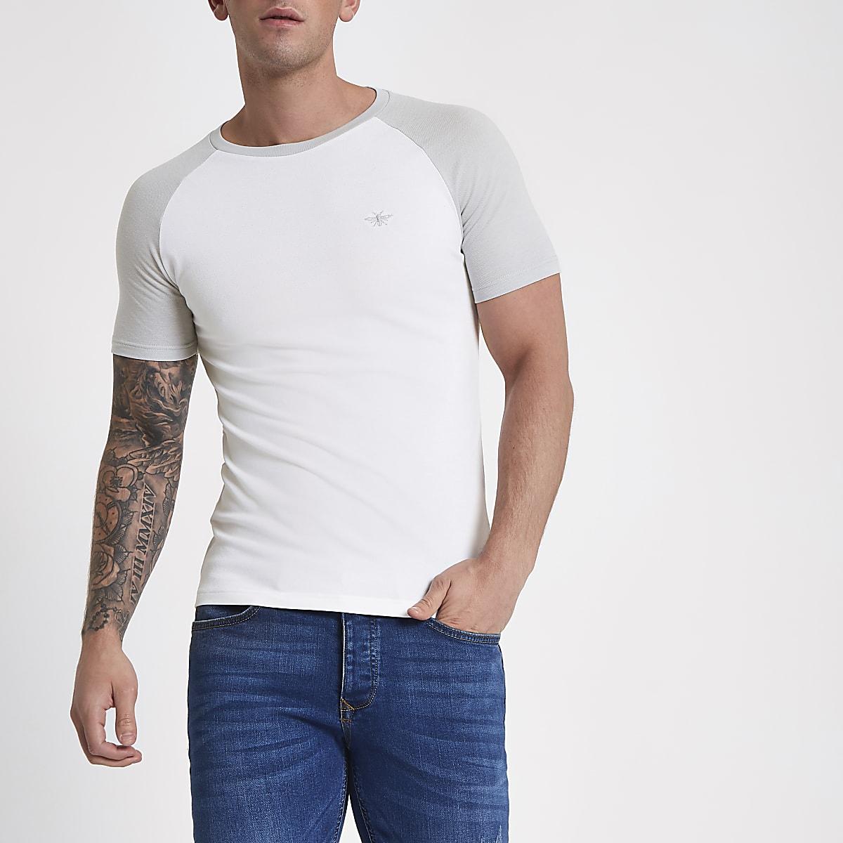 dc889903 White pique muscle fit raglan T-shirt - T-shirts - T-Shirts & Vests - men