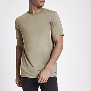 Tan slim fit crew neck T-shirt