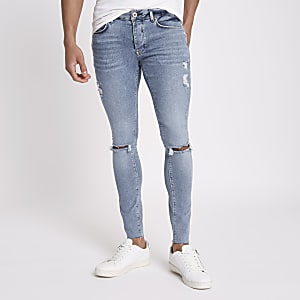 Danny - Middenblauwe superskinny ripped jeans