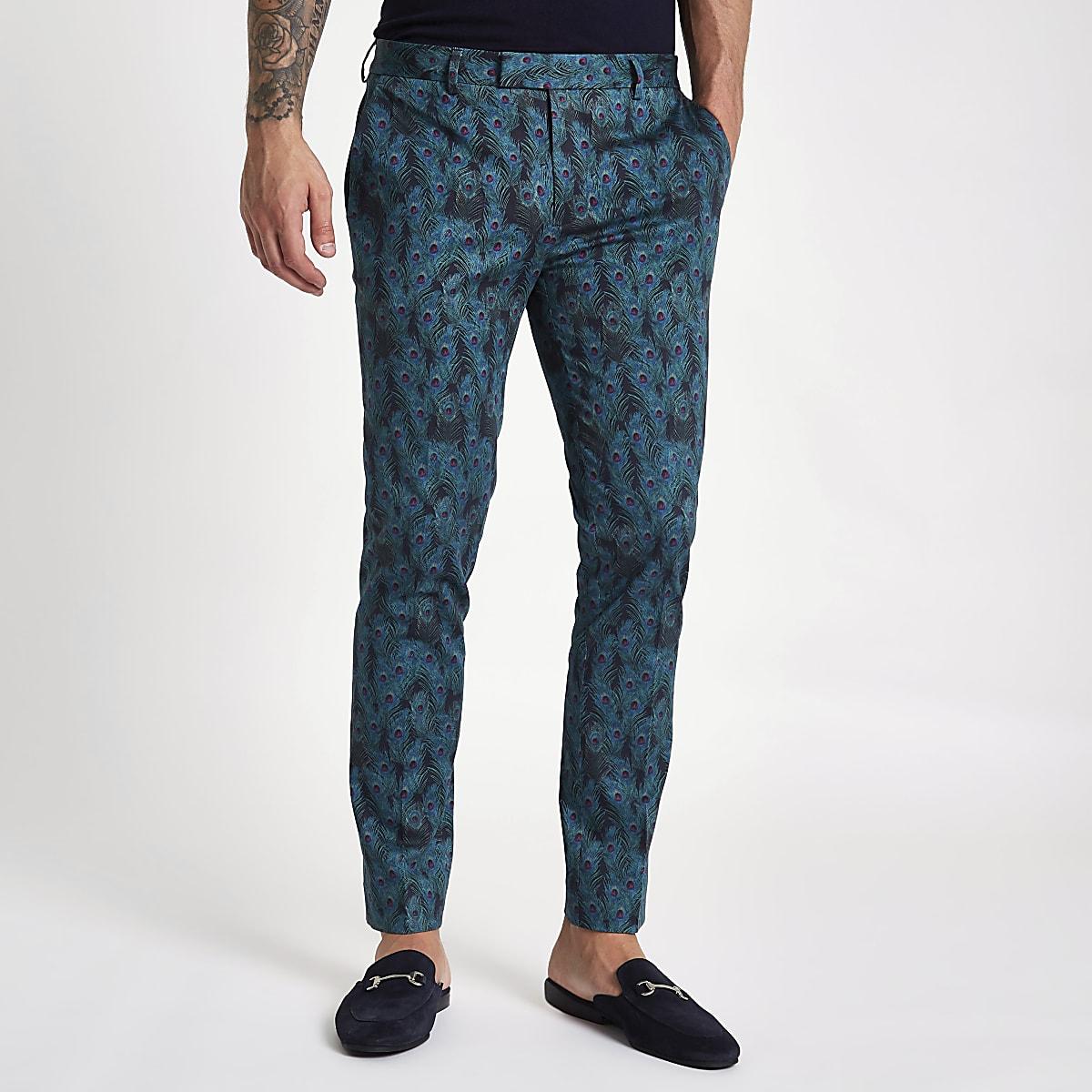 Black peacock print super skinny trousers