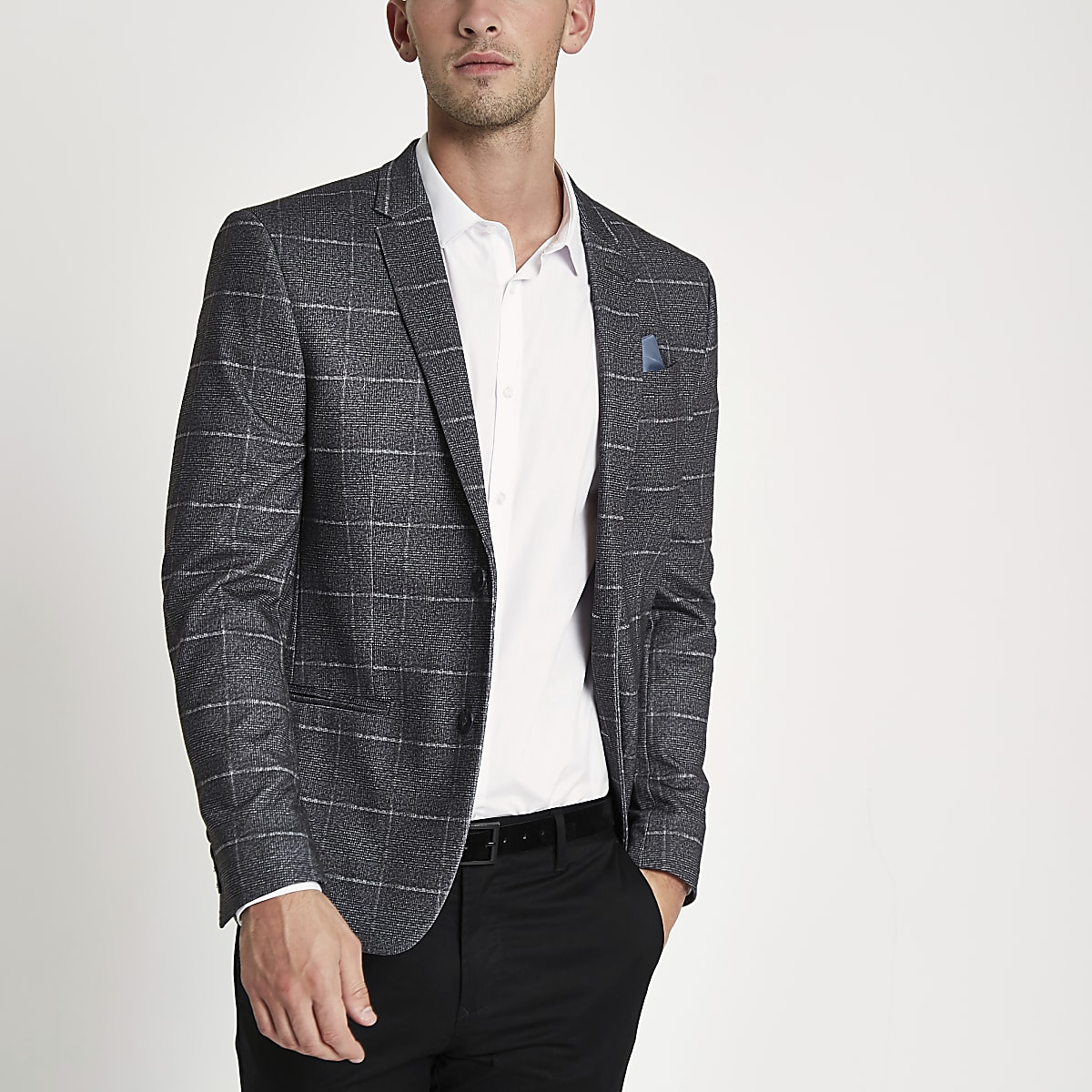 Grey window check skinny fit jersey blazer