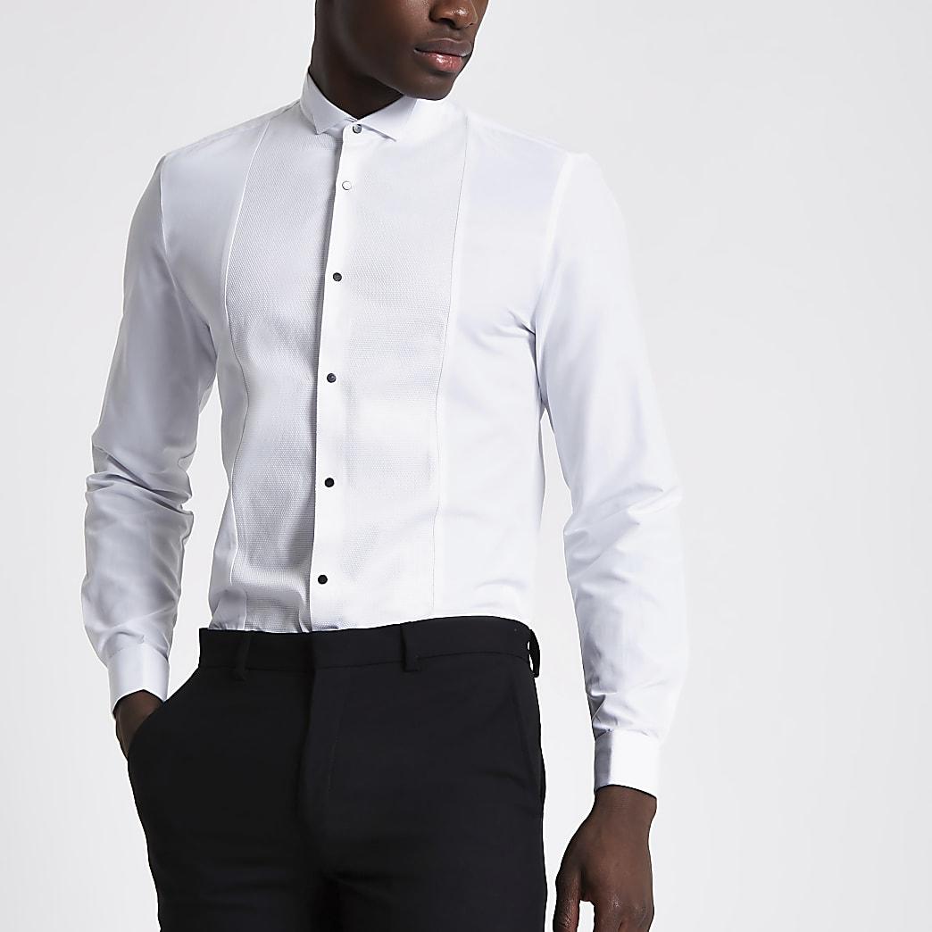 Chemise slim blanche avec empiècement texturé