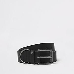 Black metal hoop buckle belt