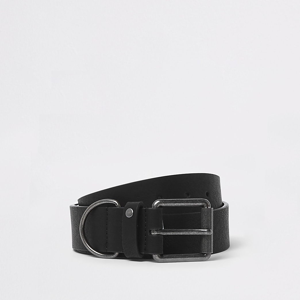 Zwart D-ring gesp ceintuur