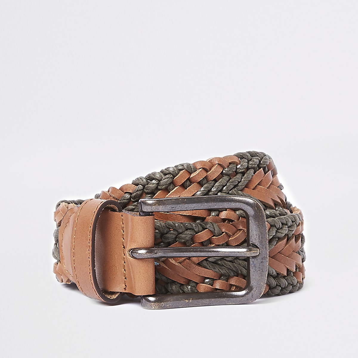 Brown and khaki woven leather belt
