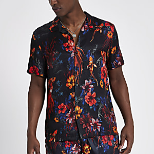 Black floral fish short sleeve revere shirt