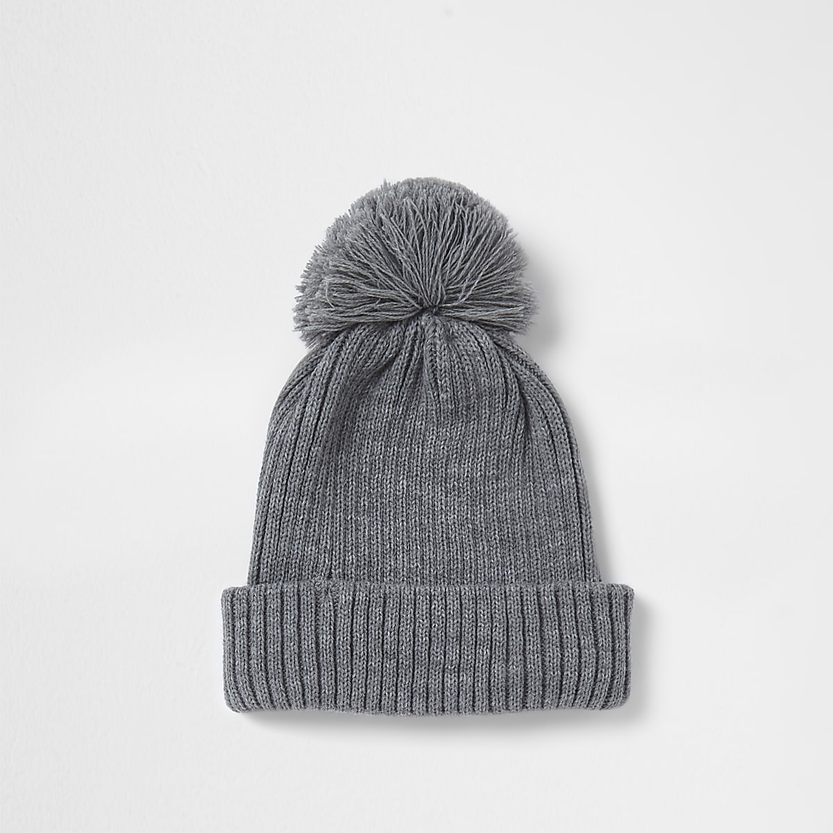 Grey rib knit bobble beanie hat