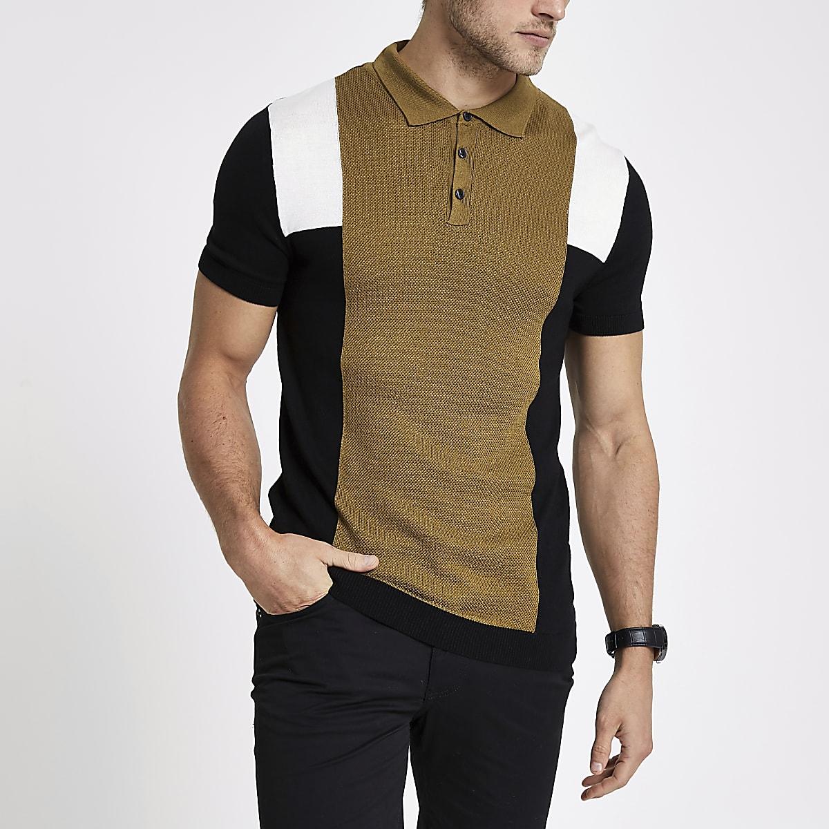 Polo slim rayé colour block marron