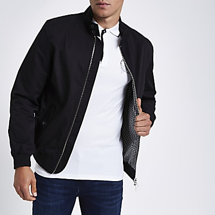 Black embroidered harrington jacket