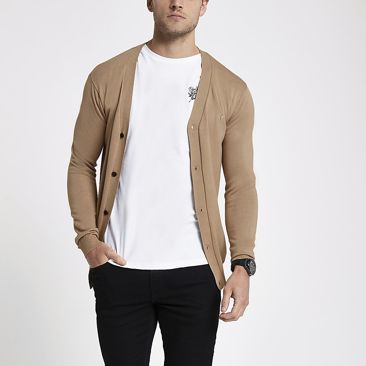 Brown V neck button-down cardigan