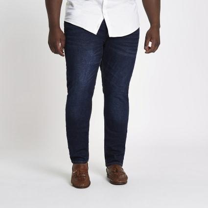 Big and Tall dark blue skinny jeans