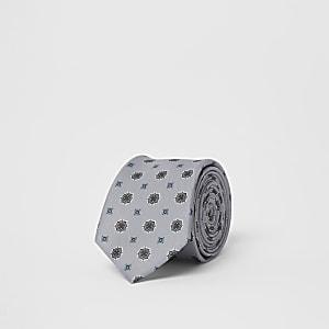 Cravate imprimé mosaïque grise