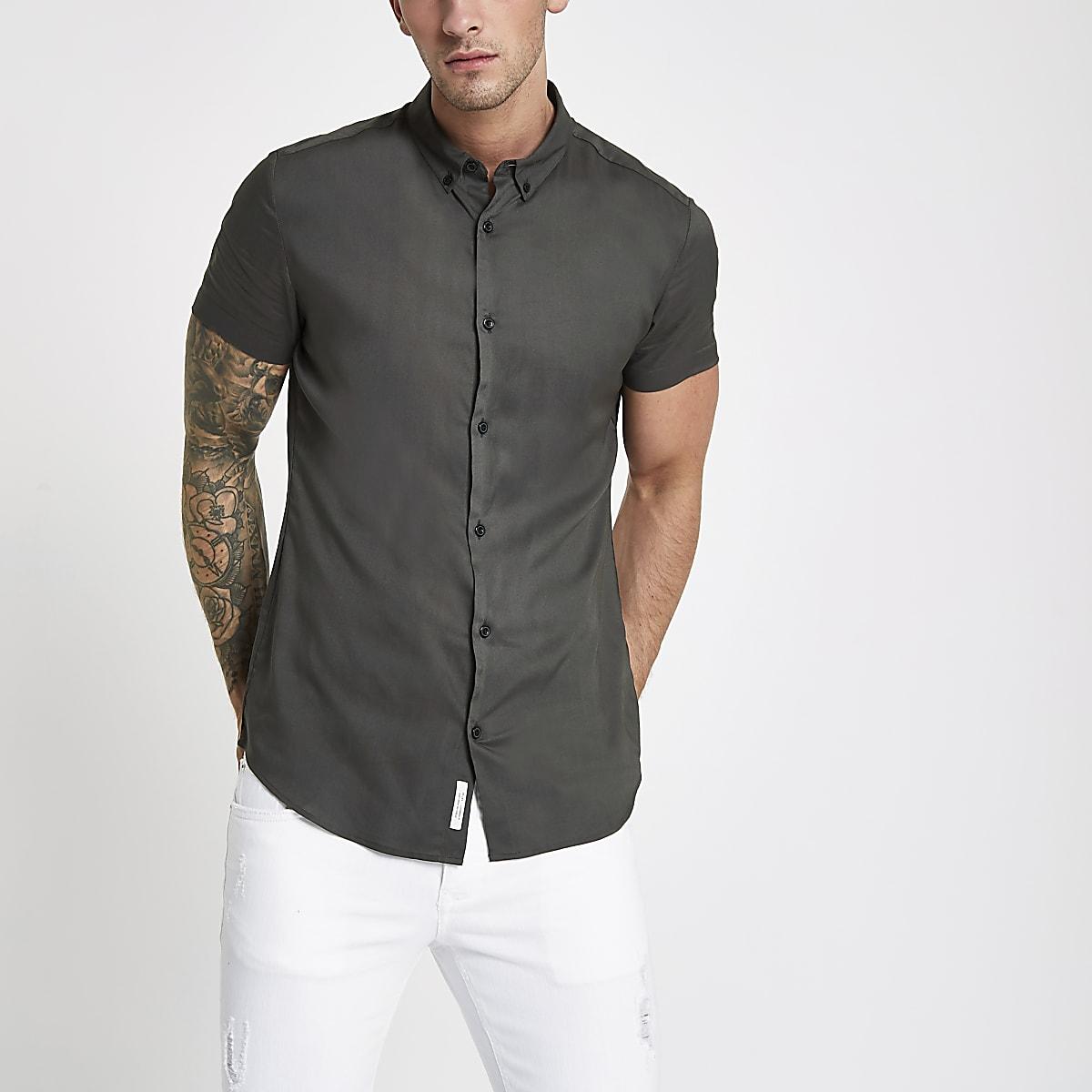 Khaki green slim fit short sleeve shirt