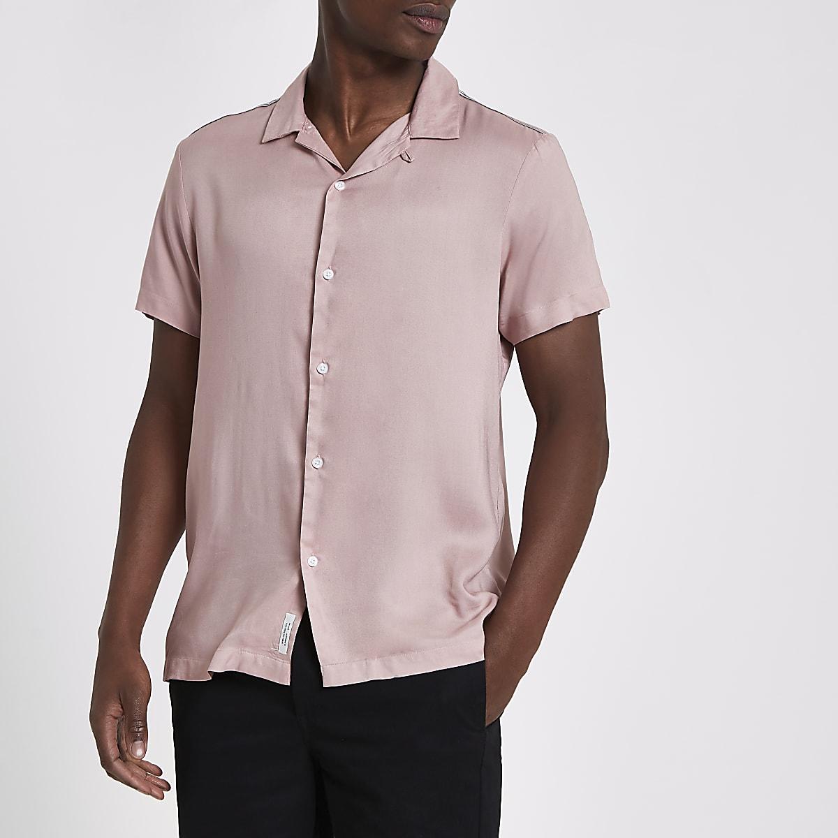 Roze Overhemd.Roze Overhemd Met Bies En Korte Mouwen Overhemden Met Korte Mouwen