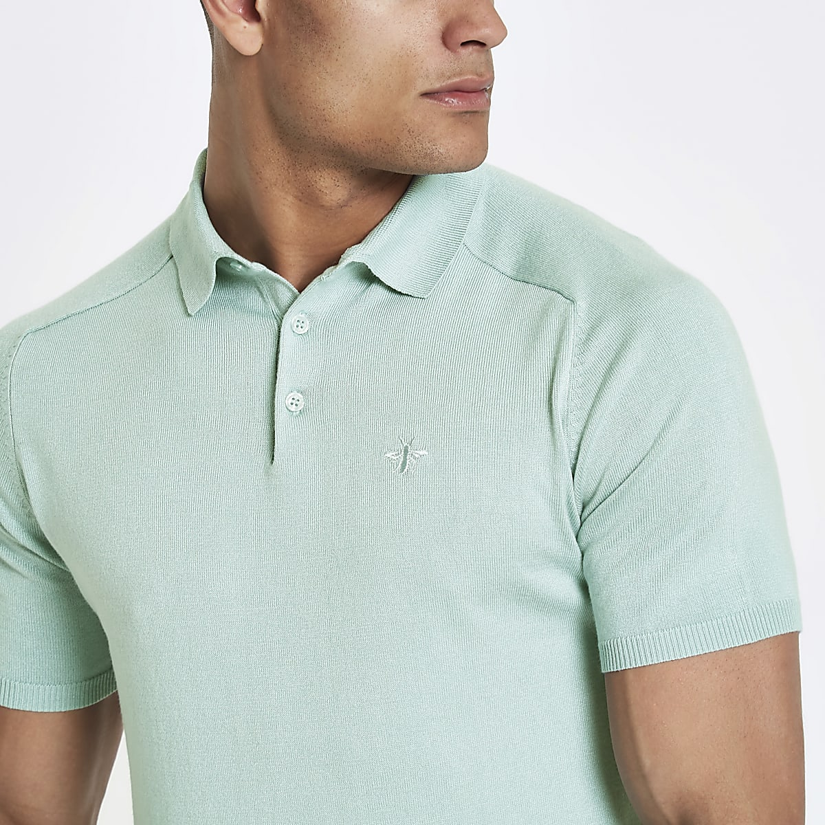c5363db4 Mint green slim fit wasp knit polo shirt - Polo Shirts - men