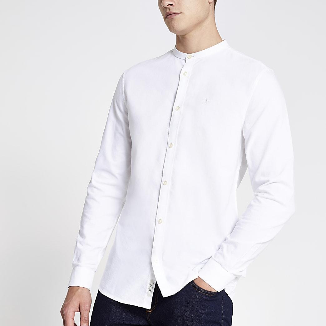 Chemise en oxford grand-père blanche à broderie guêpe