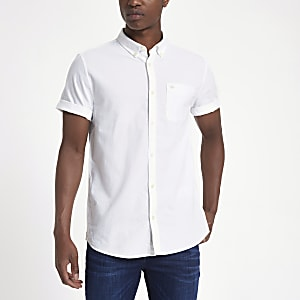Chemise Oxford blanche à broderie guêpe