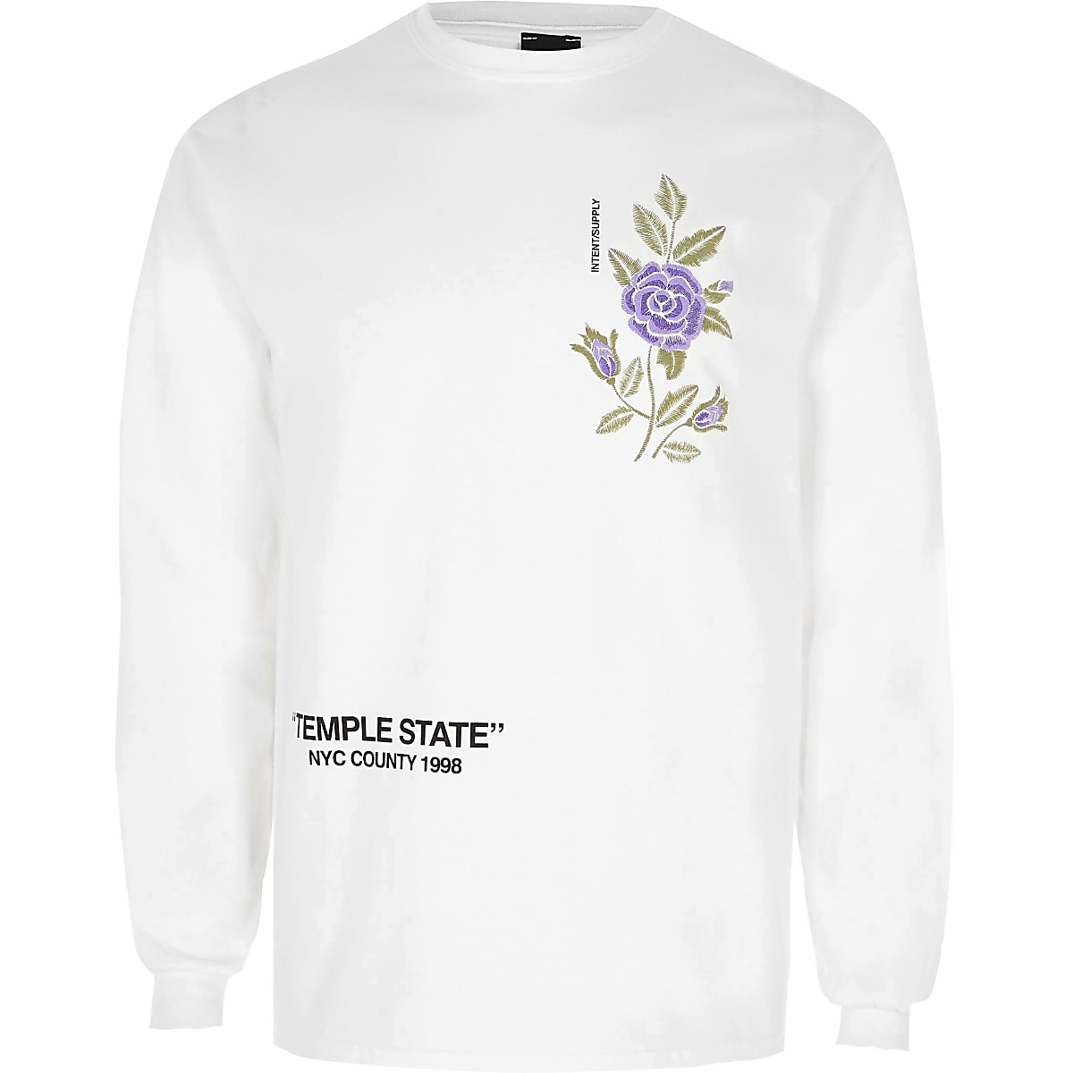 824d416c White floral embroidery print long sleeve top - Long Sleeve T-Shirts - T- Shirts & Vests - men