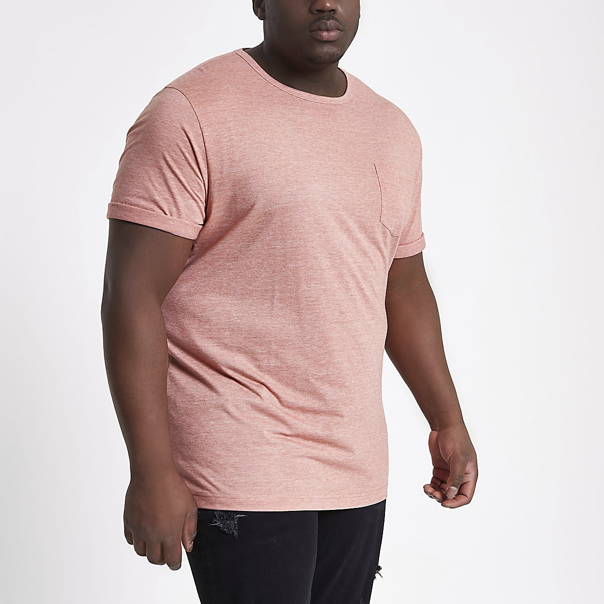 Meliertes Muscle Fit T-Shirt in Pink