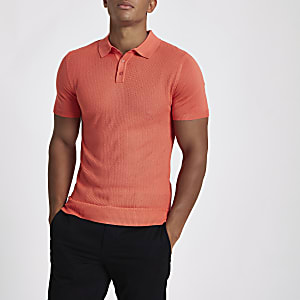 Polo ajusté texturé orange