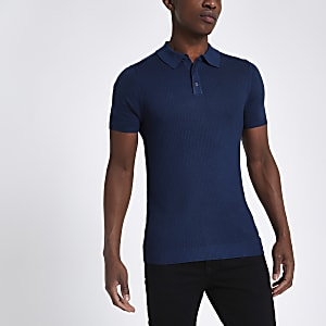 Blue textured muscle fit polo shirt