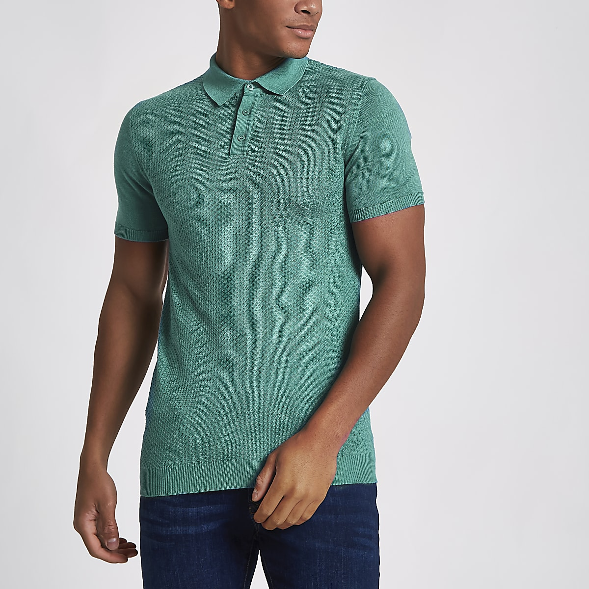 Green textured muscle fit polo shirt