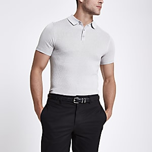 Light grey textured muscle fit polo shirt