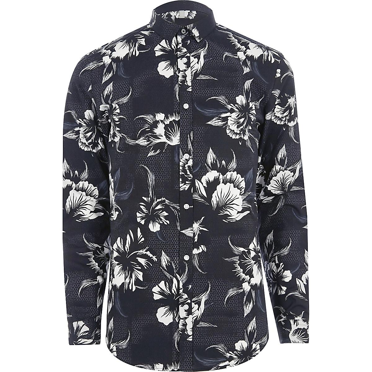 Overhemd Zwart Wit.Zwart Zwart Wit Slim Fit Overhemd Met Bloemenprint En Lange Mouwen