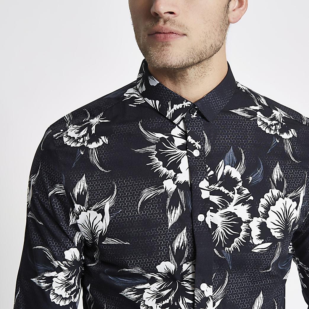 Black mono floral print long sleeve slim fit