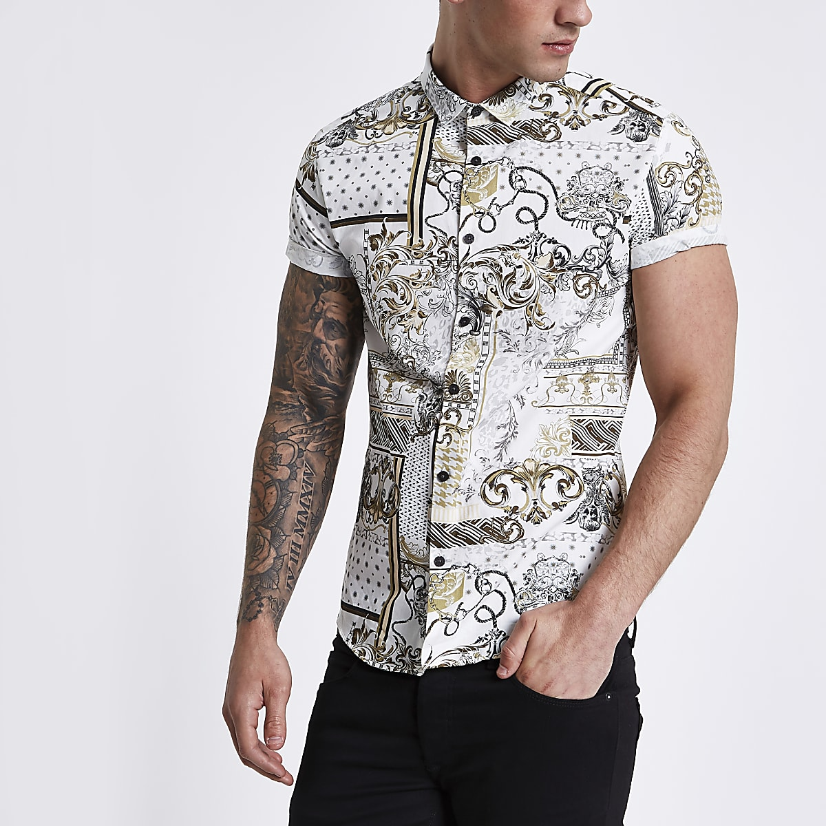 Cream baroque short sleeve slim fit shirt
