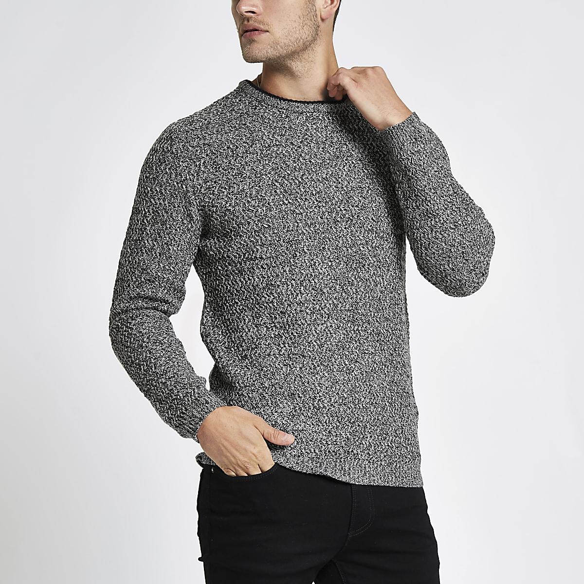 Grey knit long sleeve slim fit jumper