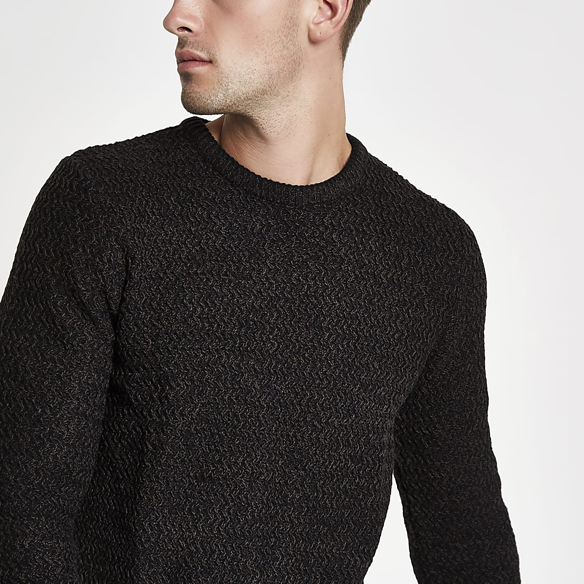 Black knit slim fit crew neck jumper