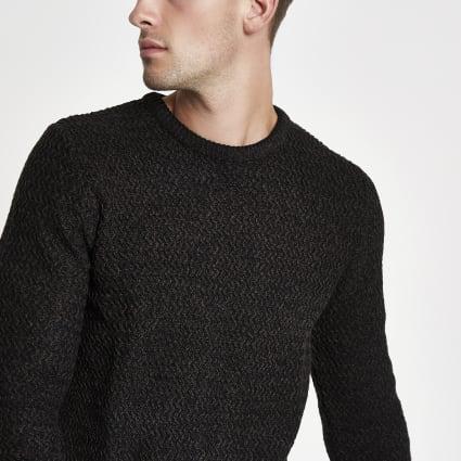 Black knit slim fit crew neck jumper